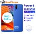 LEAGOO POWER 5 Smartphone 5.99 FHD + 6GB RAM 64GB ROM Android 8.1 MT6763V Octa Core 7000mAh 13MP Draadloze Opladen Mobiele Telefoon