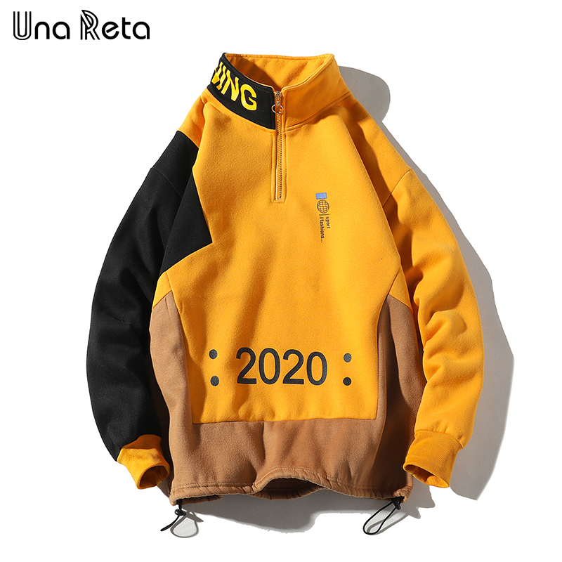 Una Reta Men Sweatshirt New Hip Hop Color Block Patchwork Fleece Sweatshirts Mens Harajuku Pullover Tops Casual Streetwear