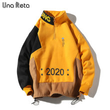 Una Reta Men Sweatshirt New Hip Hop Color Block Patchwork Fleece Sweatshirts Mens Harajuku Pullover tops Casual Streetwear(China)