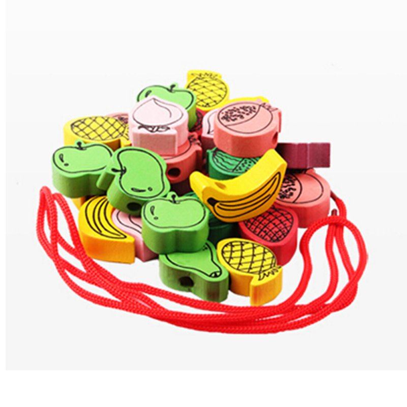 Baby Wooden Toys Cartoon Lacing Wooden Threading Beads Game Education Top 25pcs Sets