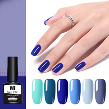 NEE JOLIE 8ml Nail Gel Blue Series Color Polish One-shot Varnish Art UV Soak Off