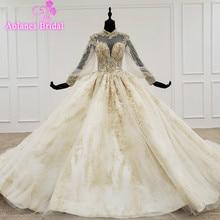 Vestido de novia con apliques de cuello alto, Vestido dorado de encaje, vestidos de boda, mangas largas con Hijab, Vestido de boda Civil