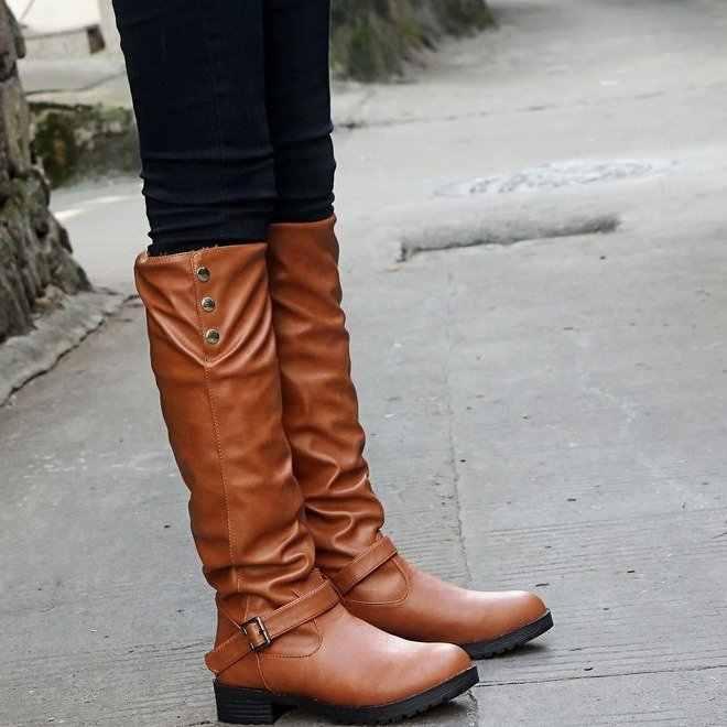 Sonbahar kış kadın diz-yüksek kar çizmeler kadın ayakkabıları yuvarlak ayak orta topuklu PU deri botas mujer zapatos artı boyutu 35 -40 G742