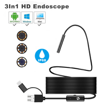 8mm lens Camera Endoscope HD 1200P IP68 1m 2m Hard Flexible Tube Mirco USB Type-C Borescope Video Inspection for Android laptop