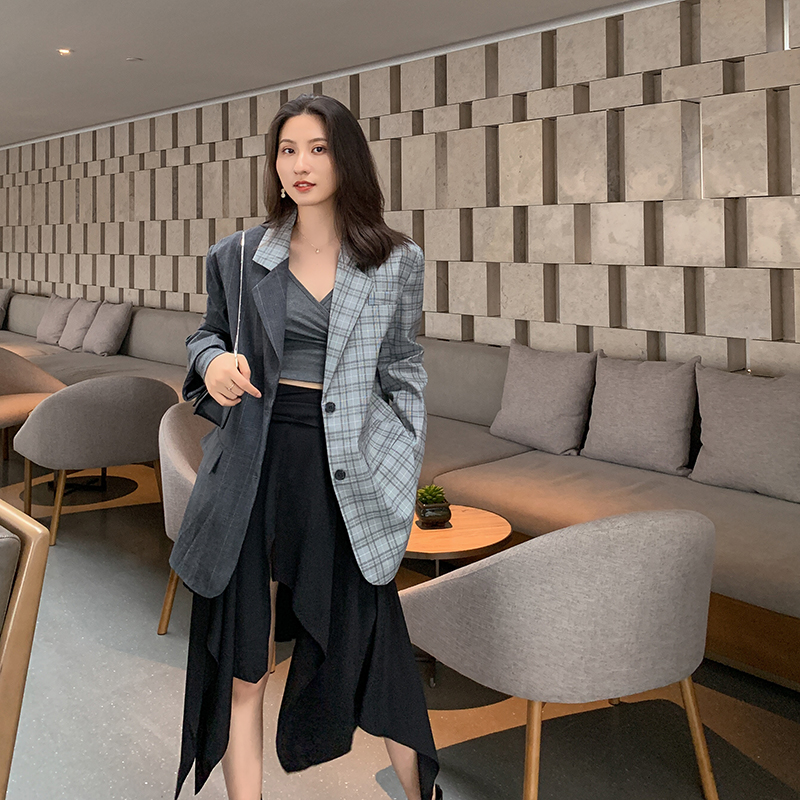 Women Chic Plaid Blazer Fashion Patchwork Contrast Color Casual Blazers Jackets Office Lady Workwear Clothes Good Quality