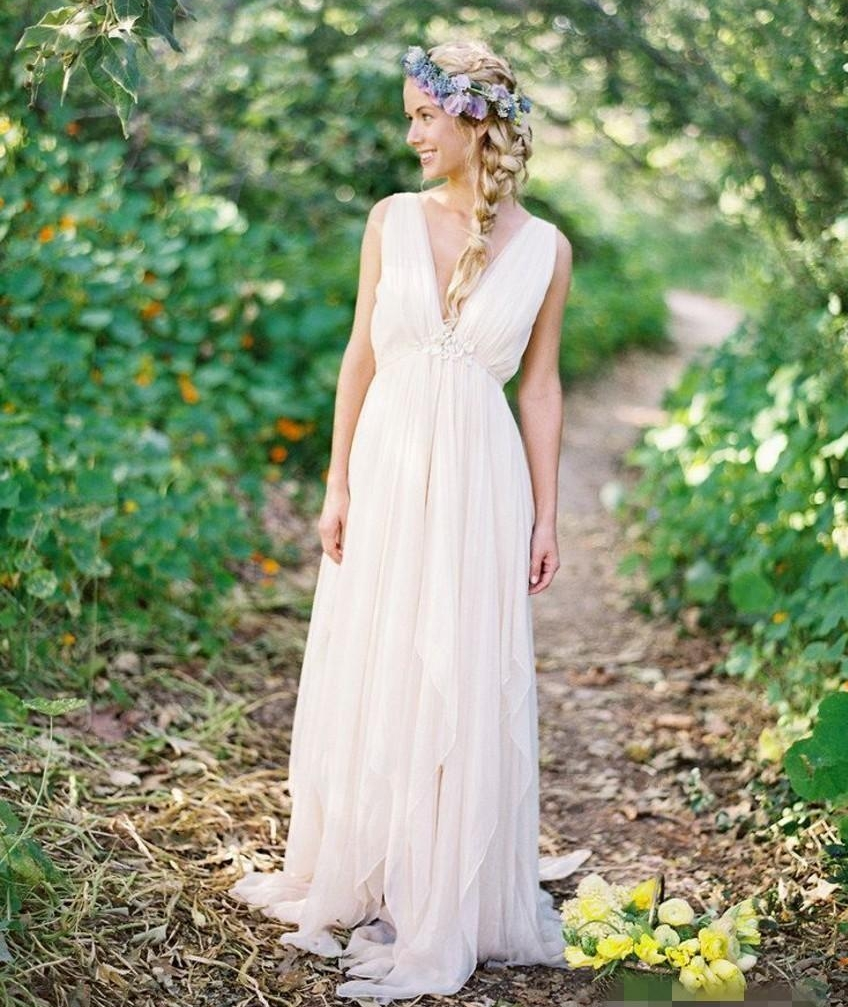 Grecian Backless Beach Wedding Dresses 2020 V Neck Vintage Boho Bridal Dress A Line Vintage Chiffon Wedding Gown Summer