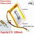 JST PH 1.0mm 3 pin litowa bateria energetyczna 3.7 V  1200mAH 103040  polimerowa bateria litowo jonowa/akumulator litowo jonowy do tablet pc BANK  GPS  mp3  mp4 w Baterie cyfrowe od Elektronika użytkowa na