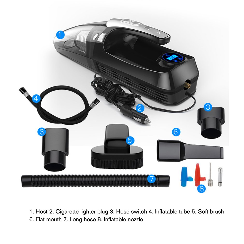 4000PA Strong Suction Power Car Vacuum Cleaner Filter Air Compressor Pump Tire Inflator Tire Pressure Measurement|Hand Tool Sets| |  - title=