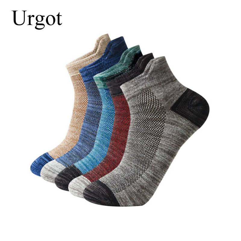 Urgot 5 Pairs Men's Sports Socks EUR39-46 Combed Cotton Mesh Breathable Soft Socks Men Male Adult Boys Casual Fashion Sock Meias