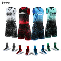 Basketball Uniforms Kits Men's Custom Name +Number Youth Basketball Jerseys Set Sports Clothing Track Suit Jerseys