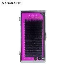 Nagaraku Chồn Lông Mi Trang Điểm Maquiagem L Curl 7 ~ 15 Mm Mix 20 Hàng/Ốp Lưng Chồn Cây Nối Mi L cong Từ Lông Mi Cilios