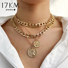 17KM Punk Gold Portrait Coin Pendant Necklace For Women Cuban Multilayered Chunky Thick Chain Choker Necklaces Gothtic Jewelry