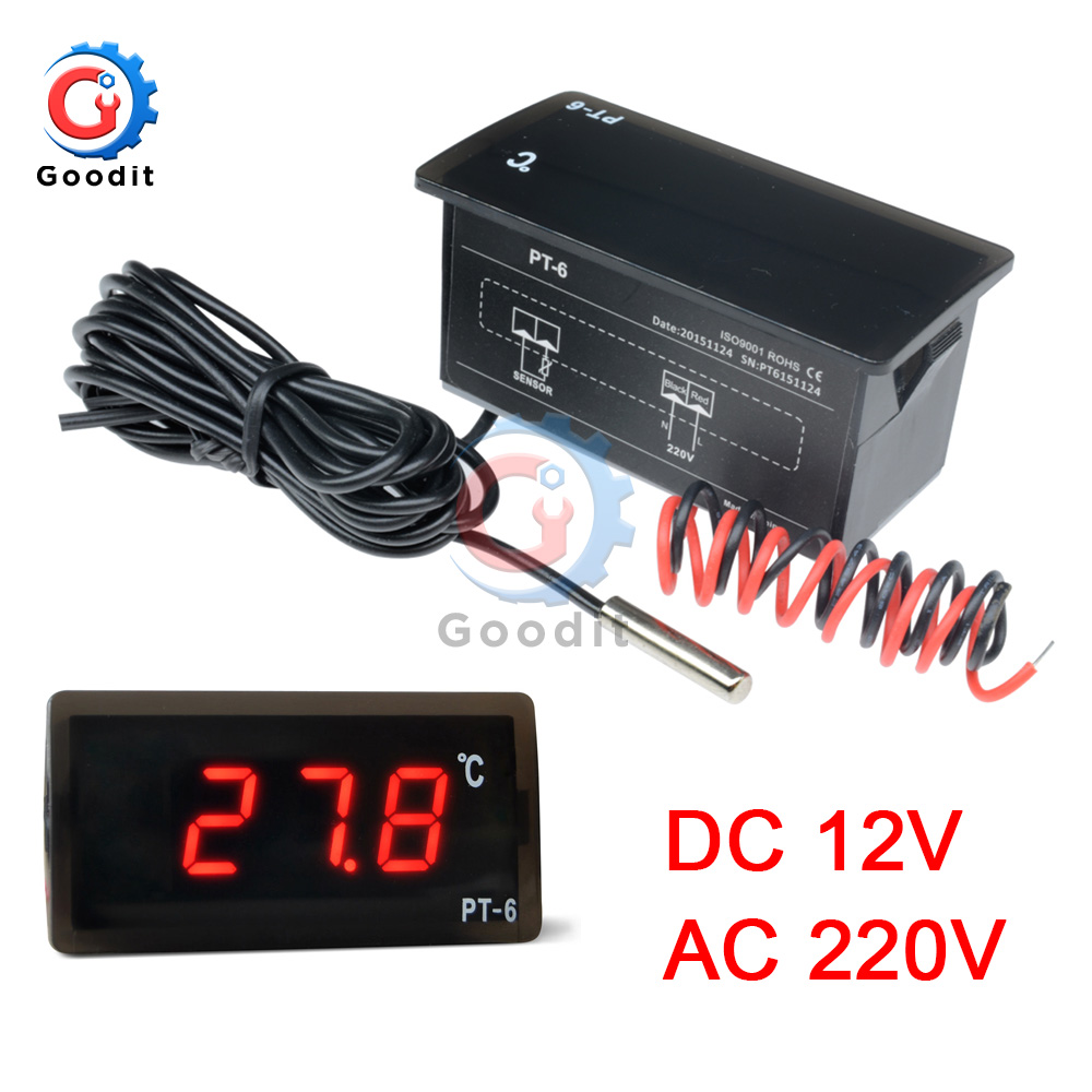 PT-6 -40~110C Digital Car Thermometer Vehicle Temperature Meter Monitor AC 220V  DC 12V Automotive Thermometer With NTC Sensor