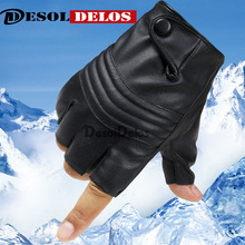 New Style Mens Leather Driving Gloves Fitness Half Finger Tactical Black Guantes Luva DropShipping