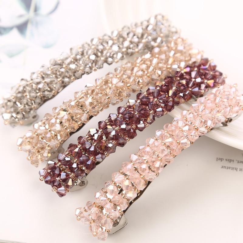 Korean Rhinestone Barrettes Hair Clips 1Pc Elegant Hairpins Crystal Hairgrips 6 Colors for Women Girls Hair Accessories
