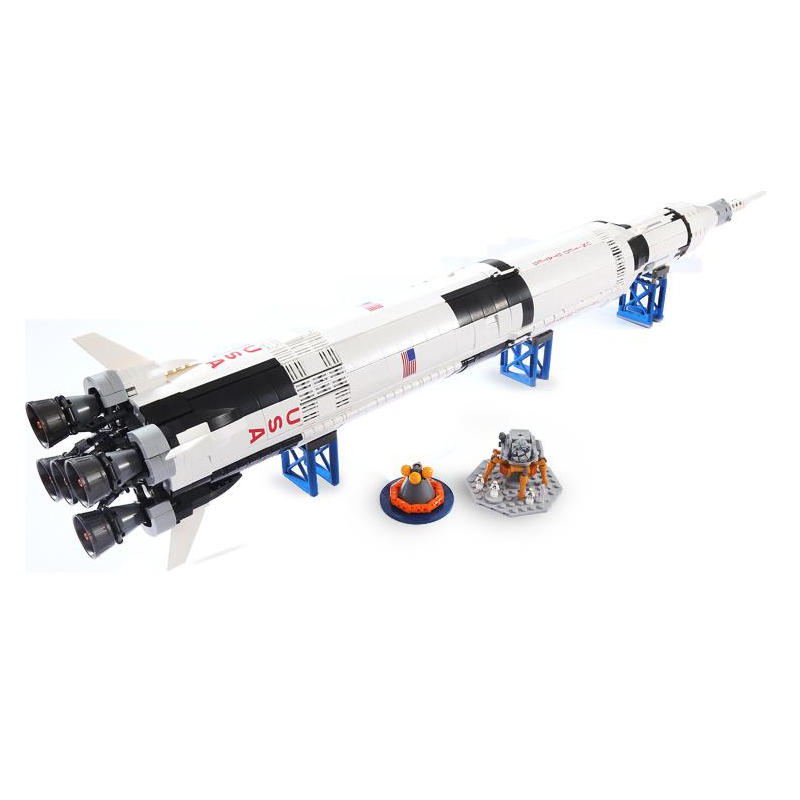 New Ideas series The Apollo Saturn V Model Building Blocks set Compatible 21309 37003 classic education Toys for children 1