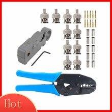 1 комплект Coax Rf/Bnc обжимные инструменты для Rg58 / Rg59 / Rg6 с 10 шт. Bnc разъем обжимной соединитель Набор плоскогубцев зажим наборы