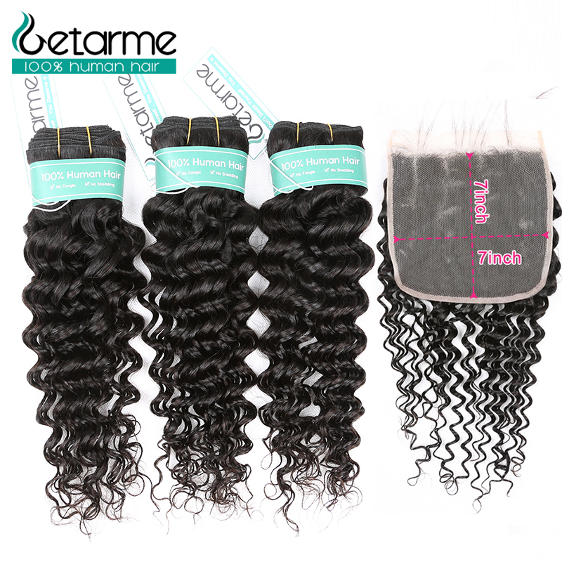 Malaysian Deep Wave Bundles With 7x7 Lace Closure Human Hair Bundles With Closure Remy 10-30 Inch Bundle With Frontal Closure