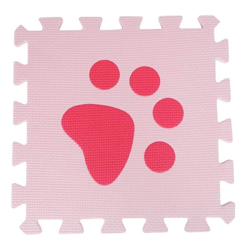 10pcs EVA Foam Interlocking Floor Play Mat Reasonable Storage And Convenient Access Protective Puzzle Carpets Red Pink