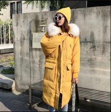 Haute qualite grande vraie fourrure 2019 nouvelle veste dhiver femmes à capuche femme épais manteau blanc canard moncler longue lâche vers le bas Parka