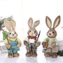 Милый соломенный кролик пасхальные украшения Праздник дом сад свадебное украшение