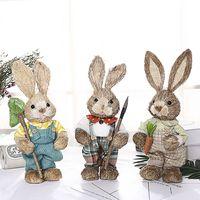 귀여운 밀짚 토끼 토끼 부활절 장식 휴일 홈 정원 웨딩 장식