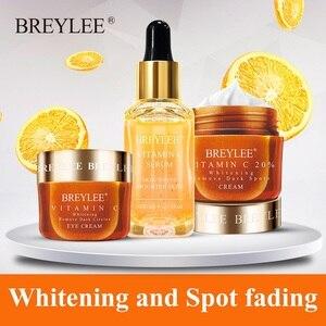 BREYLEE Vitamin C Whitening Set Face Serum Facial Cream Mask Fade Freckles Spots Melanin Eye Cream Remove Dark Circles Skin Care