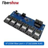10/100M 2 RJ45 6 155M SC fiber Port Fast Ethernet switch Converter 20KM Ethernet Fiber Optical Media Converter PCBA
