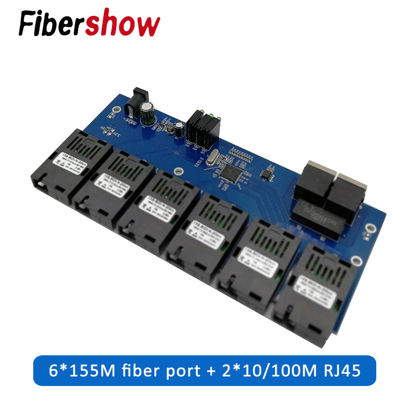 10/100M Fast Ethernet Switch Converter 20KM Ethernet Fiber Optical Media Converter Single Mode 2*RJ45 And 6*SC Fiber Port PCBA