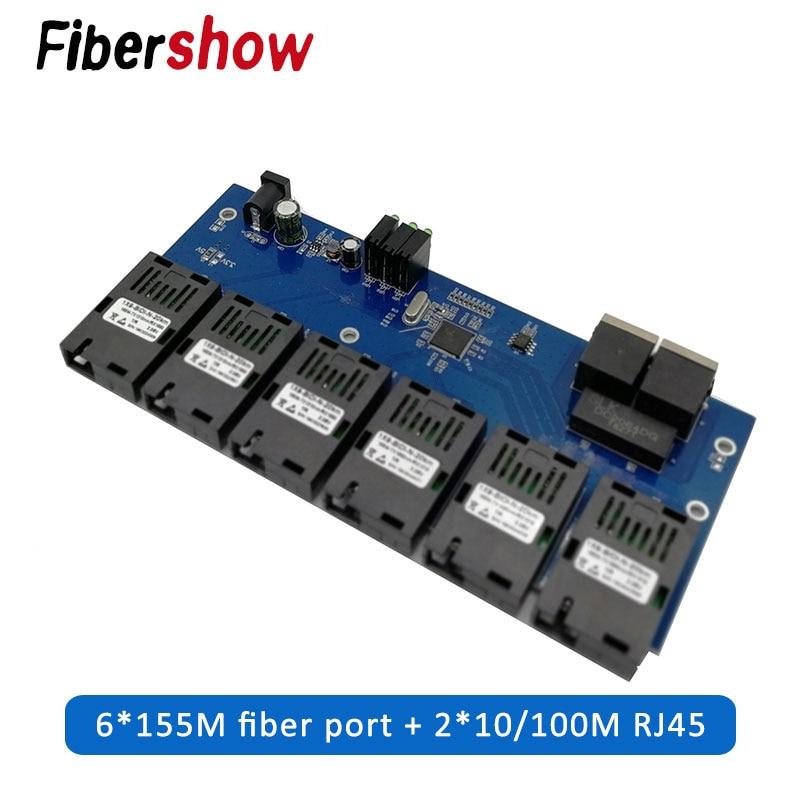 10/100M Fast Ethernet Switch Converter 20KM Ethernet Fiber Optical Media Converter Single Mode 2*RJ45 And 6*SC Fiber Port PCBA