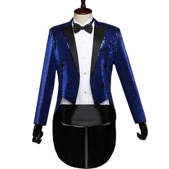Mens Gorgeous Sequin Dress Coat Swallowtail Dinner Evening Party Wedding Blazer Suit Jacket Magic Performance Singer Stage Wear