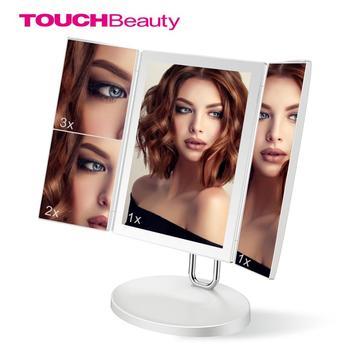 TOUCHBeauty lustro do makijażu 1X 2X 3X 7X lustra powiększające lustro kosmetyczne z dotykowy ściemniacz 34 LED światła tri-fold lustro tanie i dobre opinie Wyposażone TB-1971 200*146*319MM Trifold Vanity Mirror 5V 1A 3 7V 8W Li-ion 3 7V 1500mAh 5000K±300K 1X 2X 3X 7X Magnification