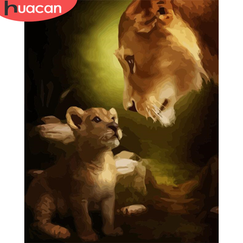HUACAN Paint By Number Lion Drawing On Canvas Hand Painted Painting Art Gift DIY Pictures By Numbers Animal Kits Home Decor