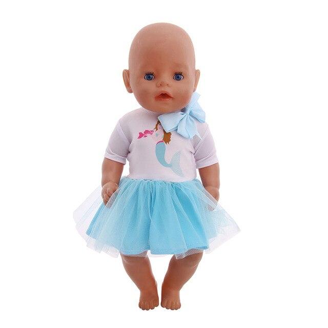 Lalki barwa niebieska serii Disned Elsa sukienka buty syrenka strój kąpielowy Tablet PC dla 18-cal American 43cm Baby lalka dla noworodka dziewczyna zabawki