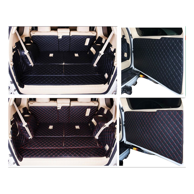 Full set trunk mats & back door mat for Toyota Land Cruiser Prado 150 7 seats 2018-2010 cargo liner boot carpets