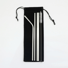 5pcs Eco Friendly Reusable Straw 304 Stainless Steel Straws Metal Smoothies Beer Drinking Set with Brush & Bag
