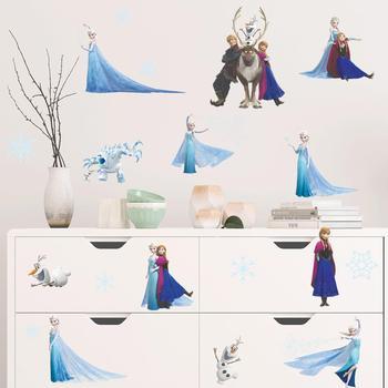 Cartoon Princess Elsa Wall Stickers for Kids Rooms Girls Bedroom Poster Vinyl DIY Mural Art Adesivo de parede Decal Baby Nursery 20