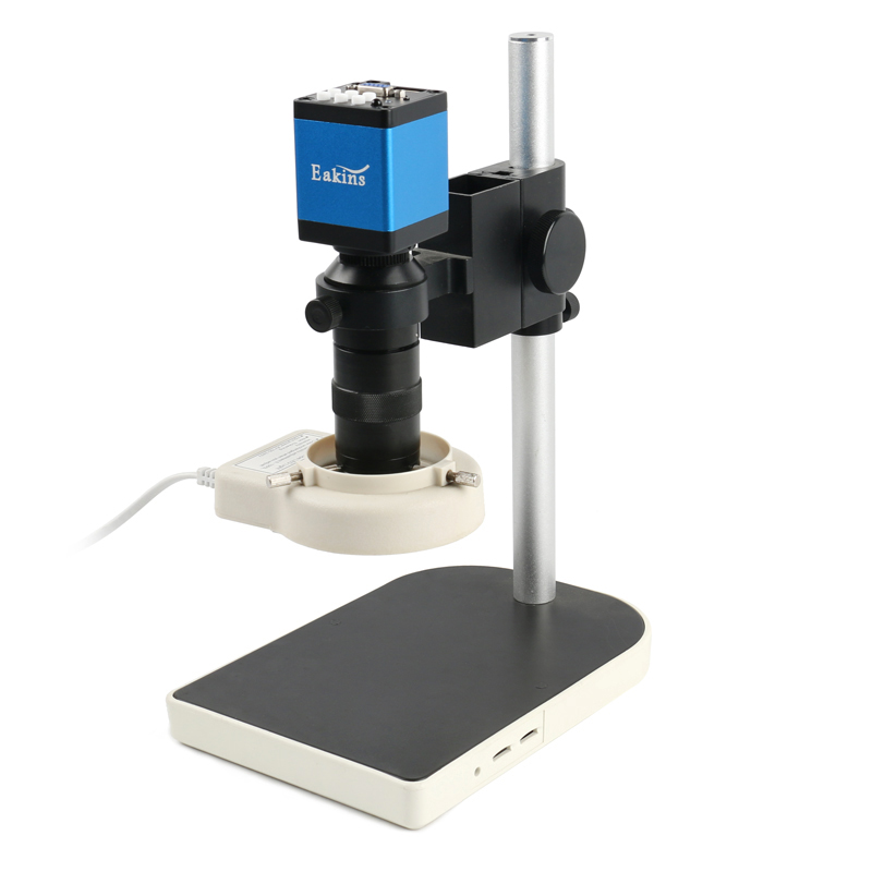 2019 720P HDMI VGA Industrial Digital Video Microscope Camera + 100X C Mount Lens + 56 LED Ring Light + Stand For PCB Soldering