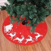 Рождественская упряжка с оленями дерево юбка дерево ковер новогодний фартук Красный мешковины ноги дерево облегающая юбка Декор лося круглый ковер 100 см J