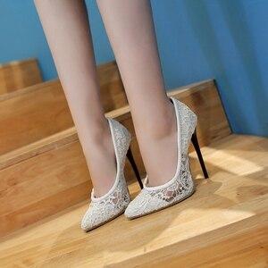 Image 5 - BLXQPYT Big Size Sale 34 48 Fashion Sexy Pointed Toe Women Pumps Platform High Heels12CM Ladies Wedding Party Shoes Woman 8735