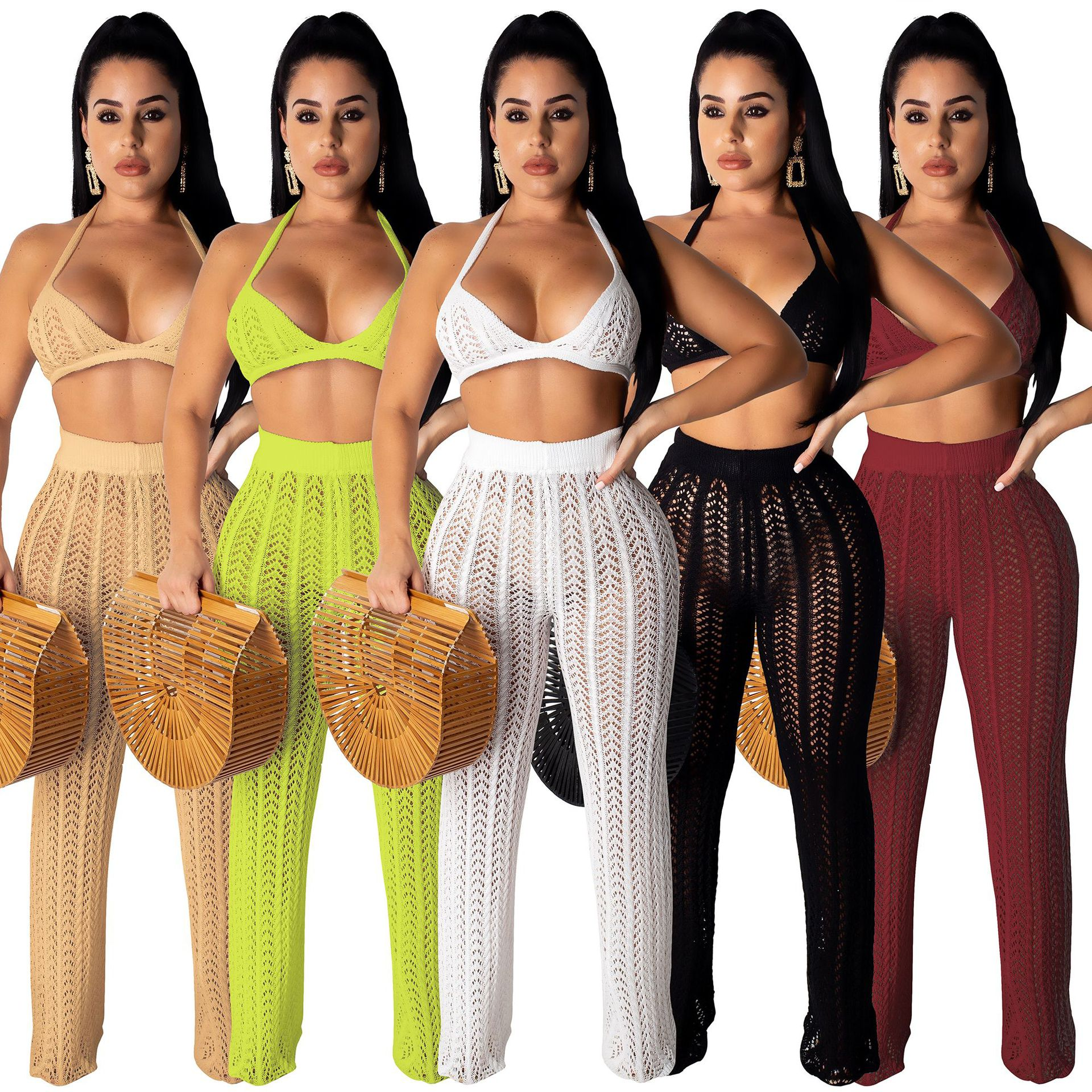 2019 Summer New Style Europe And America-WOMEN'S Dress-Style Knitted Grid Hollow Out Transparent Two-Piece Set Hot Selling