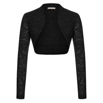 Womens Lace Long Sleeve Cropped Evening Shrug Open Front Bolero Tops Cardigan