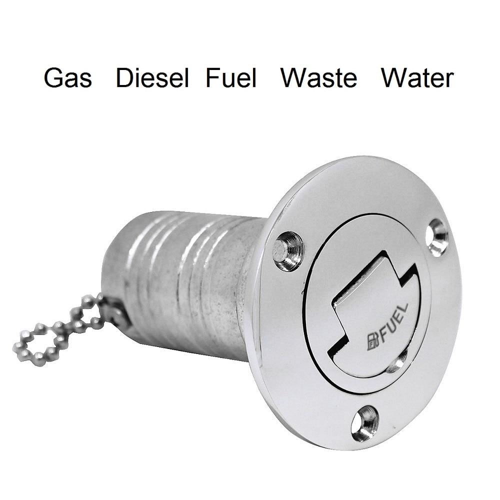 Stainless Steel 316 Boat Marine Deck Fill Filler Mirror Polish Boat Fuel Filler Water Waste Diesel Fuel Gas 38mm 50mm