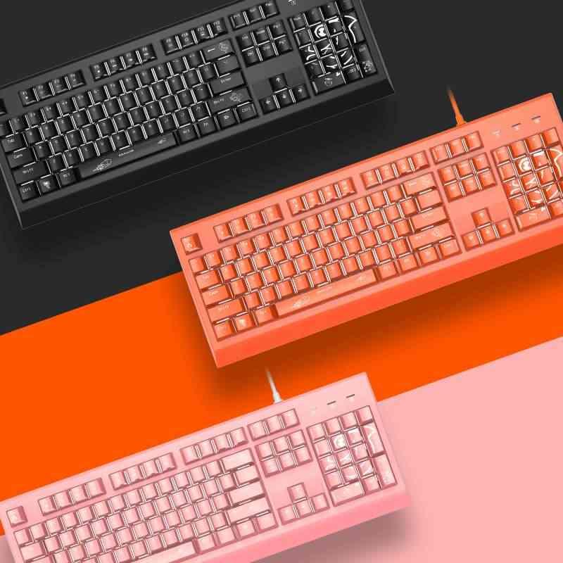 Mechanical Keyboard Blue Switch Orange Blue Switch 104 Keys NKRO USB Mechanical Gaming Gaming Keyboard Color : Pink, Size : Blue Switch