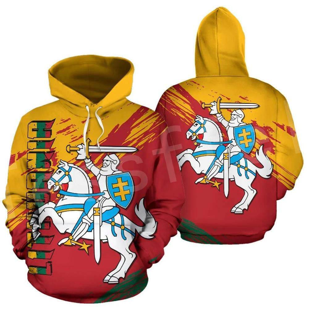 Tessffel Retro NewFashion Lithuania Country Flag Pullover Streetwear Funny Tracksuit Harajuku 3DPrint Zipper/Hoodies/Jacket S-4
