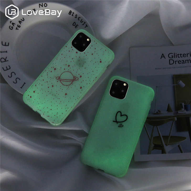 Lovebay For iPhone 11 Case Luminous Love Heart Stars For iPhone 11 Pro X XR XS Max 7 8 6 6s Plus Planet Clear Soft Phone Cover
