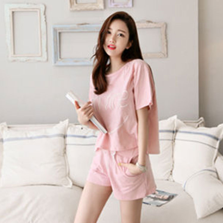 New Products Short Sleeve Pajamas Women's Summer Sweet Cute Pink Women's Tracksuit Piece-Outer Wear