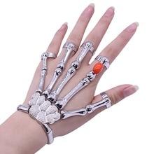 Gothic Punk Skull Skeleton Finger Bracelet Bangle For Women Vintage Silver Men Exaggerated Skeleton Bone Hand Bracelet 2019 недорого