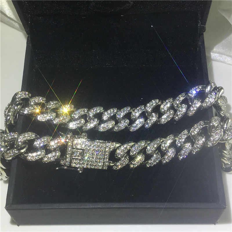 Vecalon 12.5mm cubana hiphop colar pave cristal cz iced para fora colar para mulheres jóias de rocha