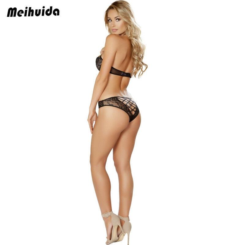 Hirigin Women Charm Sexy/Sissy Lingerie Exotic Mesh Lace See-through Bandage Sets Babydoll G String Thong Underwear Nightwear